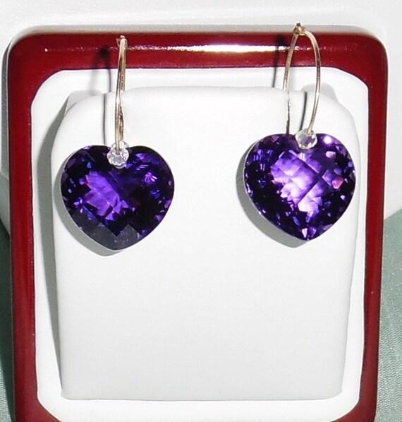 GENUINE 35cts Heart CKB Purple Amethyst gemstones, 14kt yellow gold Pierced Earrings