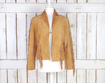 Vintage tan brown suede leather cropped fringe boho jacket/festival fringe hippie jacket/medium/large