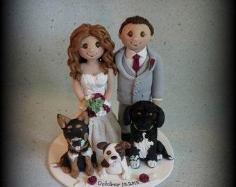 Wedding Cake Topper, Custom Cake Topper, Personalized, Polymer Clay Bride and Groom, Three Pets, Wedding/Anniversary Keepsake