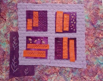 Fiber Art Quilt, Batik Wall Hanging,  Purple Orange Quilt, Small Wall Quilt, Repurposed Wool, Embroidered Quilt, Quiltsy Handmade