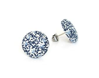 Vintage style stud earrings - blue white fabric button earrings - tiny porcelain earrings - nickel free - something blue - winter earrings