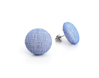 Something blue - pastel blue white fabric earrings - tiny button earrings - small post earrings - simple tiny stud earrings - nickel free