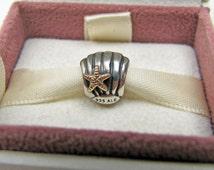 Genuine Pandora 14 Karat Gold And Sterling Silver Bead Charm For Pandora Bracelet. Clam Sea Shell & Starfish Signed ALE 925