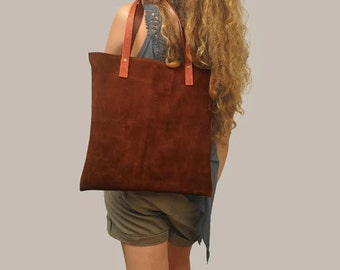 Leather Shopping tote bag minimal bag,named IOS.  Made to order