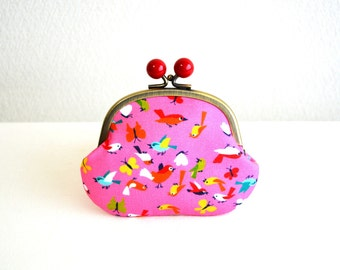 Christmas sale!  Pink birds coin purse with red acrylic balls. German fabric. Handmade in Japan. Ready to ship - frame purse.