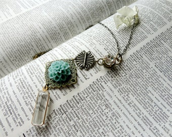 Shabby romantic pendant necklace, long necklace length, rhinestone, industrial replica hinge, teal flower & filigree, clear drop, Ms. Todd