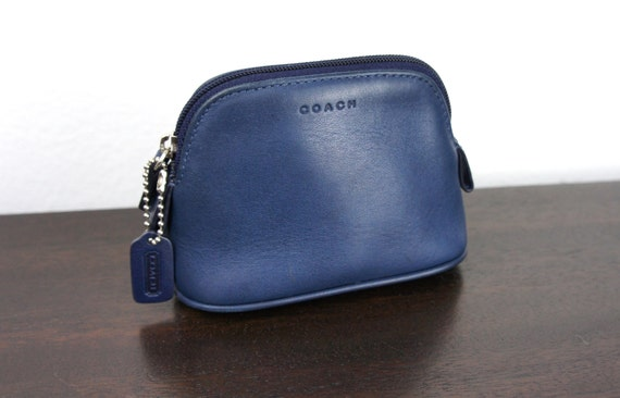 Small Navy Blue Leather Coach Cosmetic Case Zipper Pouch