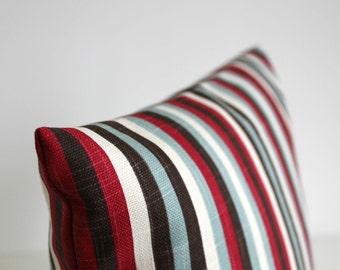 Stripe Pillow Cover, Stripe Pillowcase, 16x16 Pillow Cover, 16 Inch Pillow Cover, Cushion Cover, Pillow Sham - Graphic Stripe Berry