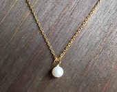 Single White Pearl Gold Necklace. Adjustable 16-18 inches