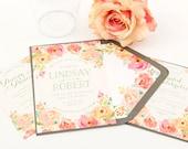 Floral Invitation Suite, SAMPLE SET - Floral Wedding Invitation Watercolor Wedding Invitation