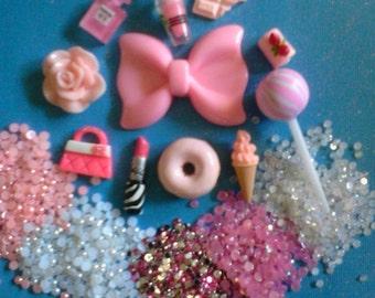 Kawaii decoden deco diy charm pink girly bow cabochon kit  339---USA seller