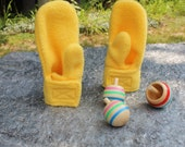 Easy On Wrap Mittens in Sunshine Yellow Fleece With Velcro Closure in Baby and Toddler Sizes