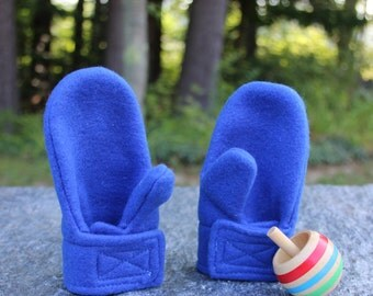 Royal Blue Fleece Mittens   Baby Mittens   Stay On Mittens   Toddler Mittens