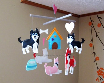 """Baby Mobile - Huskies dogs Crib Mobile - """"Black and Red Husky""""  - Handmade Nursery Mobile (Match your bedding)"""