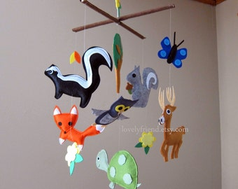 Customize Baby Mobile - Skunk, Buck, Turtle in The Woods Theme Nursery Crib Mobile (Choose your color)