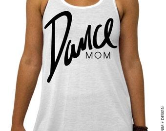Dance Mom - White Flowy Racerback Tank