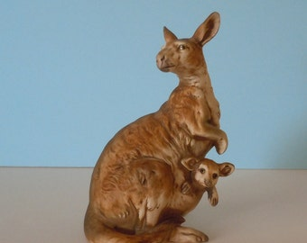 Vintage UCTCI Japan Ceramic Kangaroo with Joey Figurine