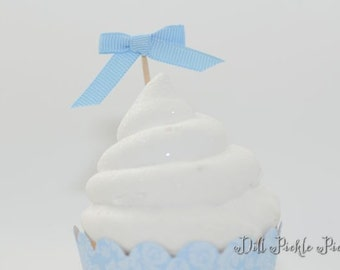 25 Baby Blue Grosgrain ribbon Bow Cupcake Toppers or Finger food picks - Weddings, Baby Shower & Birthday Party