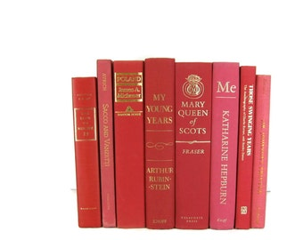 Red  Pink Decorative Books ,  Vintage Books , Home Decor , Old Books ,  Photo Prop , Bookshelf Decor , Table Setting , Wedding Decor