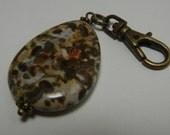 Earthy Leopardskin Jasper Bead Zipper Pull Backpack Charm Purse Fob Swivel Clip Antiqued Brass Brown Stone