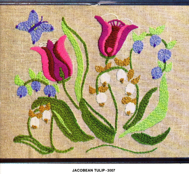 Jacobean tulip crewel embroidery kit by patternpeddlerannex