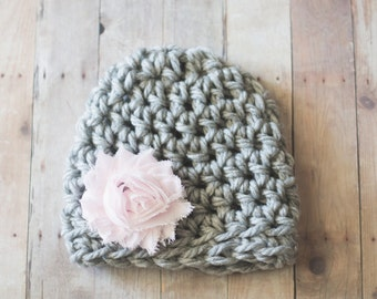 Newborn Girl Hat, Newborn Chunky Crochet Girls Newborn Hat, Gray and Pink Flower Beanie Baby Hat, Photography Prop