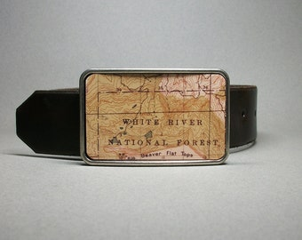 Belt Buckle Colorado White River Vintage Map Unique Gift for Men and Women