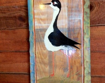 Black-necked Stilt painting distressed frame one of a kind original art on reclaimed wood home decor wall hanging wildlife artist Todd Lynd