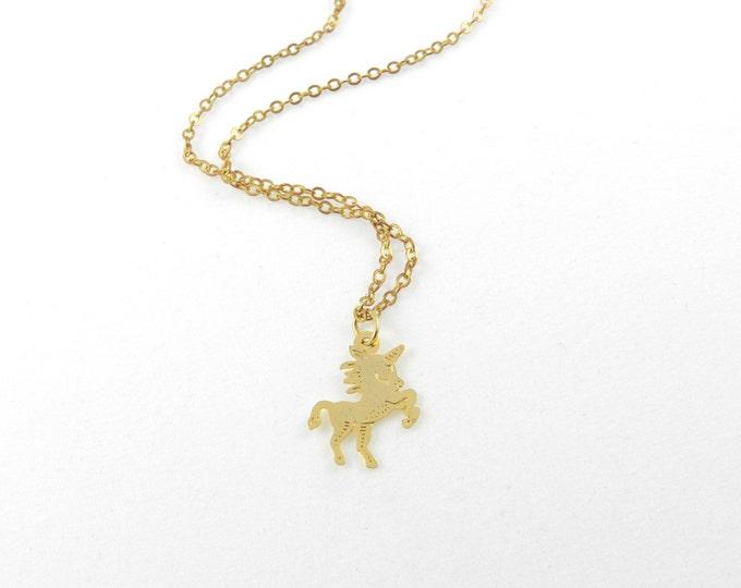 Unicorn Charm Necklace, Tiny Gold Unicorn Charm Necklace, Dainty Gold Necklace, Charm Necklace, Charm Pendant, Unicorn, Unicorn Necklace