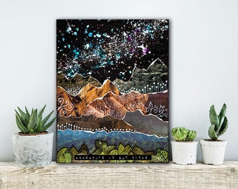 ON SALE 20% OFF Adventure Is Out There - stretched canvas print, mixed media collage art, wanderlust travel art, nature decor, canvas art