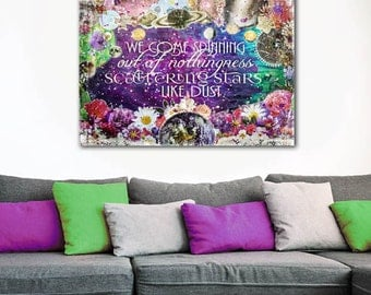 ON SALE 20% OFF Scattering Stars Like Dust - stretched canvas print, mixed media collage art, rumi quote print, inspirational art, typograph