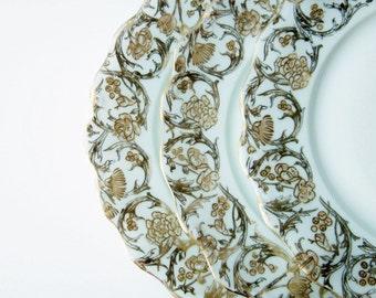 1910's Limoges France Golden Gilt China Dinner Plates - T&V Tressemann Vogt Porcelain - Art Nouveau Dinnerware - Decorative Cabinet Plates