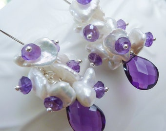 Purple Amethyst and Ivory Keshi Pearl Cluster Earrings