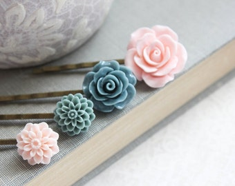 Pink Rose Bobby Pins Flowers For Hair Floral Hair Accessories Denim Blue Rose Hair Pin Girls Hair Clips Chrysanthemum Dahlia Set of Four (4)