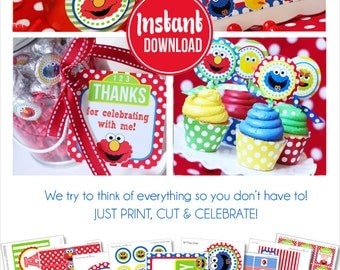 Sesame Street Birthday Decorations | Sesame Street Party | Elmo Birthday Party Decorations | Instant Download |  Amanda's Parties To Go