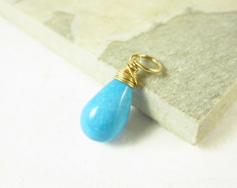 14k Gold Wire Wrapped Stone - Genuine Turquoise Pendant - Natural Turquoise Jewelry Handmade - Bright Blue Turquoise Gemstone Jewelry