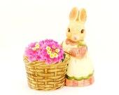 Vintage Bunny Planter Ring Holder Takahashi Lilkins Girl Rabbit Easter Decor Candle Holder Catch All Succulent Pot