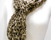 Brown Crocheted Scarf, Scalloped Edge Long Scarf, Soft Acrylic Yarn
