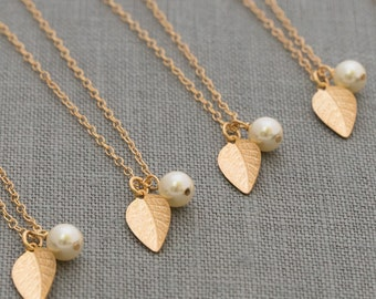 Gold Leaf Necklace, Fall Wedding Jewelry, Bridesmaid Set of 4, Fall Color Pearl Dainty Necklace
