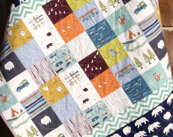 Baby Boy Quilt, Organic, Bears Camp Sur Camping Outdoors Hiking Canoeing, Boy Blanket, Fox, Modern Forest Woodland, Navy Blue, Ready to Ship