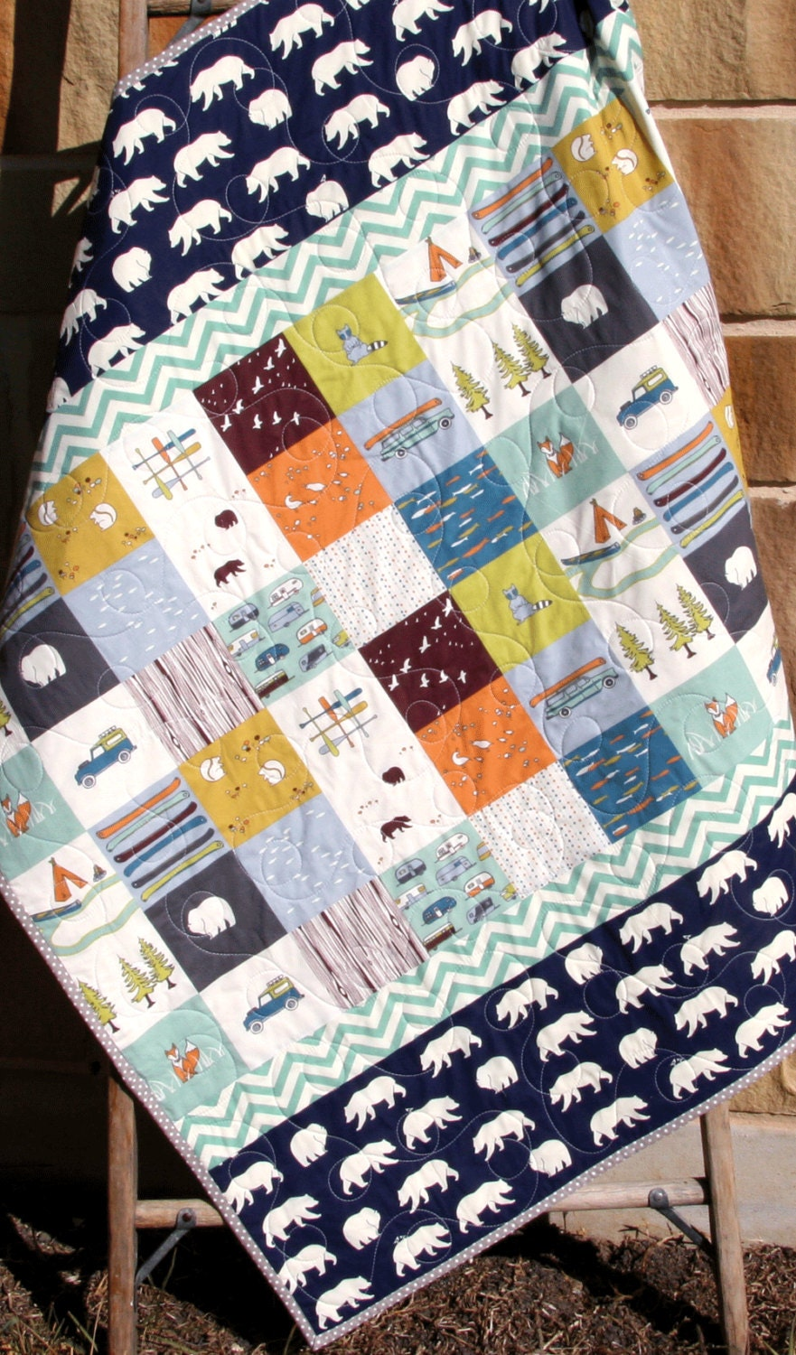 Baby Boy Quilt Organic Bears Camp Sur Camping Outdoors