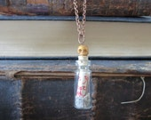 """Glass """"Message in a Bottle"""" Pirate's Life Necklace With Miniature Scroll"""