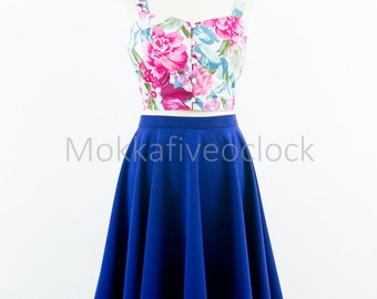 Custom made skirt, circle skirt, vintage inspired skirt, blue skirt