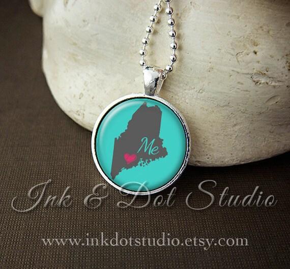 Maine necklace love maine pendant custom state pendant Rogg discount