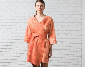 Kimono Cardigan, Autumn Coat, Oversized Coat, Plus Size Coat, Felt Cape Coat, Loose Coat, Poncho Coat, Short Jacket, Orange Coat, Wool Coat