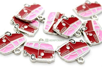 VW Bus Charms, 3pc Pink and Red Camper Van Charms, 20x18