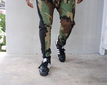 Green Army Camouflage Drop Crotch Pants / Harem Pants / Mens Joggers / Stash and Back Pocket / Handmade by GAG THREADS