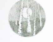 Full moon and birch original drypoint etching print