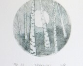 Moon rising through the forest original dry point open edition print birch aspen woodland