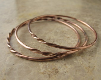 Twisted Bangles, Set of Three Copper Bangle Bracelets, Custom Made to Order